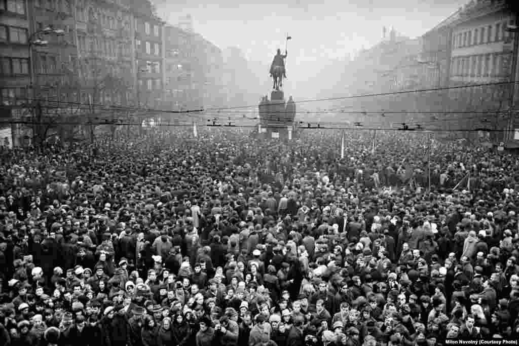 Thousands gather on Prague's Wenceslas Square on the day of Palach's funeral.