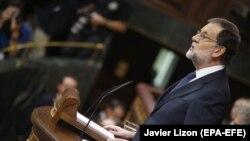 Mariano Rajoy gjatë fjalimit të djeshëm në Parlamentin e Spanjës