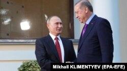 Володимир Путін і Реджеп Тайїп Ердоган під час зустрічі в Сочі, Росія, 22 листопада 2017 року