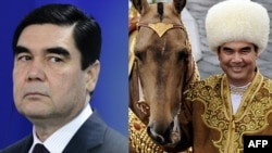 The two faces of Gurbanguly Berdymukhammedov: unforgiving autocrat and smiling man of the people (combo photo)