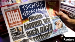 "The German tabloid ""Bild's"" headline says: ""Bye-bye, Greece. Today we won't be able to save you!"""