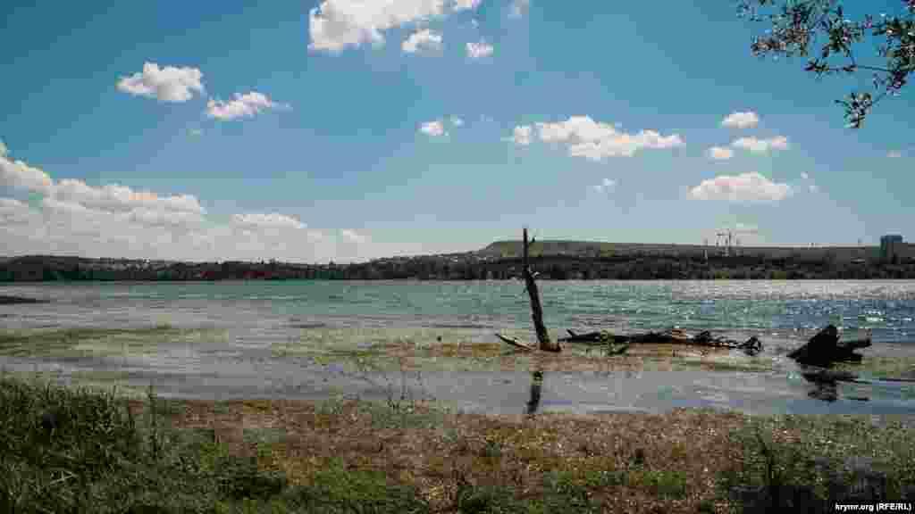 Но все же заметно, что последние грозы пополнили главный резервуар Симферополя. Еще месяц назад эта коряга лежала на берегу водохранилища