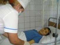 Children were infected at hospitals in Kazakhstan and Kyrgyzstan