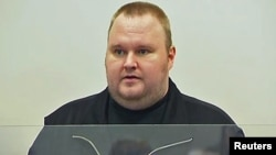 The founder of the file-sharing website Megaupload, Kim Dotcom, a German national also known as Kim Schmitz, appears in a court in Auckland on January 23.