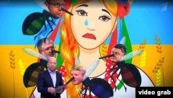 Російський ведучий на фоні карикатури про Україну