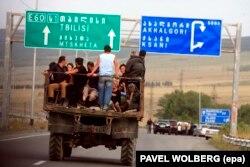 Люди покидают Гори, 13 августа 2008 года