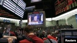 За выступлением Бена Бернанке следили по телевизору многие деловые люди Америки