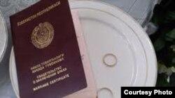 Свидетельство о заключении брака гражданина Узбекистана.