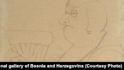 Mica Todorović, crtež Berta Mondenka, oko 1929. godine, vlasništvo Umjetničke galerije BiH