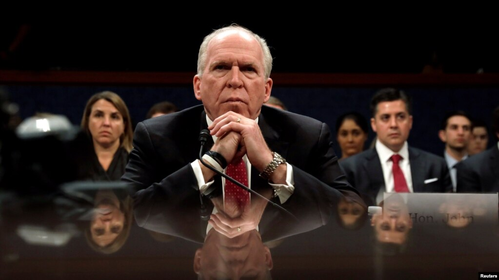 Former CIA director John Brennan testifies before the House Intelligence Committee in Washington on May 23.