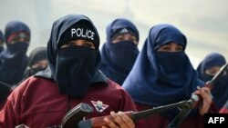 File photo of Pakistani women police commandos in Nowshera where the actress was killed on August 19.