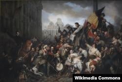 Густав Вапперс. Эпизод сентябрьских дней 1830 года на брюссельской Гран-Пляс. 1835