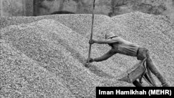 Iran – A worker of concrete factory fill in a handcart of sand, 29Apr2014