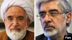 میرحسین موسوی (راست) و مهدی کروبی دو سال است که بدون حکم قضایی در حصر خانگی به سر می برند.