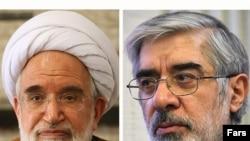 میرحسین موسوی (راست) و مهدی کروبی؛ دو نامزد اصلاحطلب انتخابات دهم