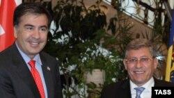 Mihai Gimpu și Mikheil Saakashvili la Chișinău