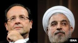 Президент Франції Франсуа Олладн (Л) і президент Ірану Хасан Роугані (П)