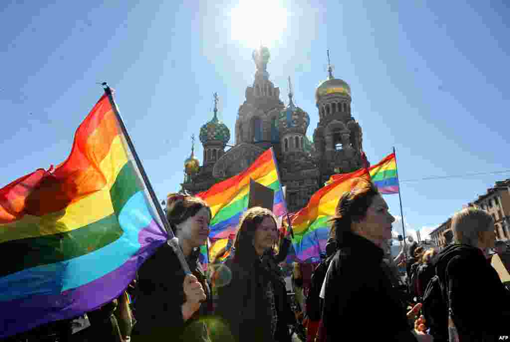 Gay-rights activists march in the city of St. Petersburg. (AFP/Olga Maltseva)