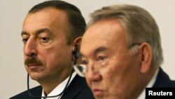 Azerbaijan President Ilham Aliyev (left) with Kazakh President Nursultan Nazarbaev in October