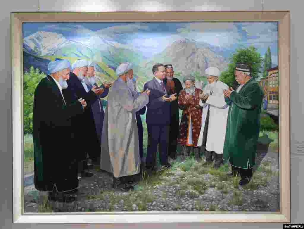 A 2005 painting depicting Karimov praying with village elders. Karimov was also known for waging a brutal campaign against Islamic radicals and their suspected sympathizers.