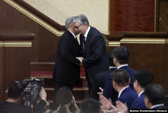 Елдің тұңғыш президенті Нұрсұлтан Назарбаев және Қазақстан президенті Қасым-Жомарт Тоқаев. Астана, 20 наурыз 2019 жыл.