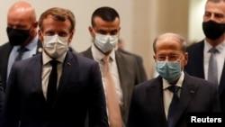 Predsednici Francuske i Libana, Emanuel Makron i Mišel Aun, nakon sastanka na međunarodnom aerodromu u Bejrutu