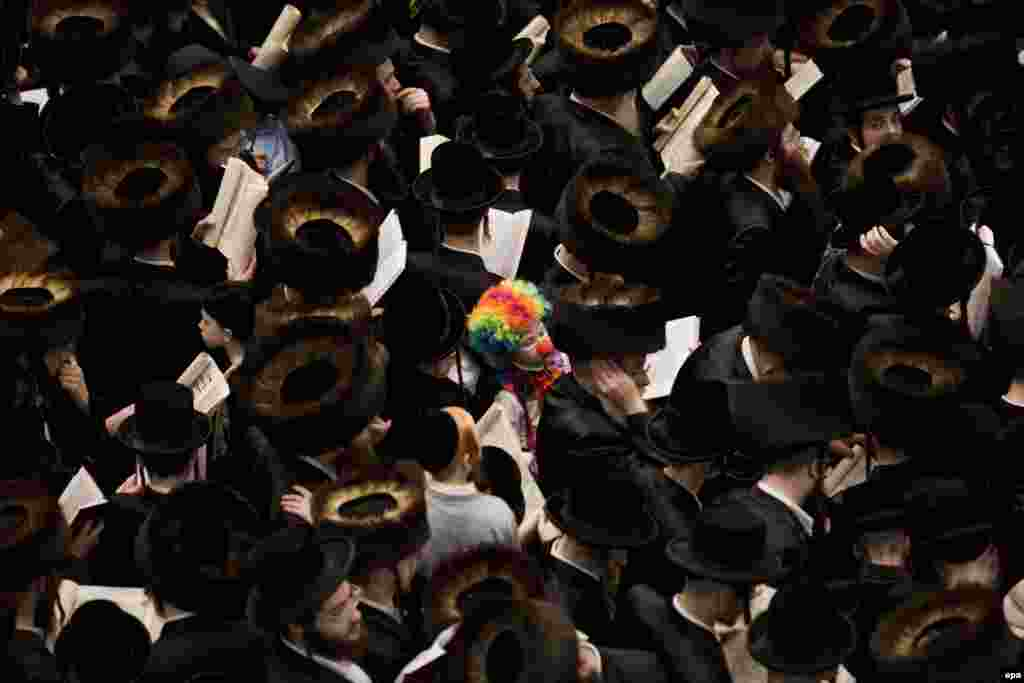 An ultra-Orthodox Jewish child dressed as a clown stands among men reading from the Book of Esther during a prayer for the Jewish holiday of Purim in the Mea Shaarim neighborhood in Jerusalem. (epa/Abir Sultan)