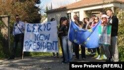 Protest tokom posjete Ketrin Ešton Crnoj Gori, 15. april 2013.
