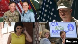 (Clockwise from top left) General David Petraeus and Paula Broadwell; U.S. Marine General John Allen; David Petraeus with his wife, Holly; and Jill Kelley