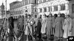 Members of Trotsky's Red Army stand on guard duty in Moscow's Red Square in November 1922.