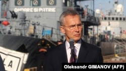 NATO Secretary-General Jens Stoltenberg speaks during a media briefing after his visit to NATO ships in the Ukrainian Black Sea port of Odesa on October 30.