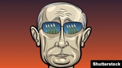 Illustration of Russian president Putin with rockets on glasses