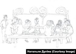 Камэра ІЧУ ў Баранавічах на малюнку былой выкладчыцы катэдры італьянскай мовы МДЛУ Натальлі Дулінай, якая правяла там 14 сутак арышту