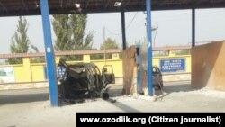 Автомобиль, который взорвался на автозаправочной станции в городе Коканде Ферганской области. 19 октября 2014 года.