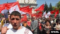 La o demonstraţie a comuniştilor în centrul Chişinăului