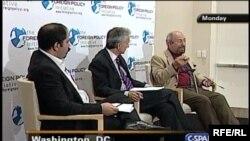 Ali Afshari, Jeffrey Gedmin, and Saad Eddin Ibrahim on FPI panel.