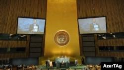 Իլհամ Ալիեւը ելույթ է ունենում ՄԱԿ-ի Գլխավոր ասամբլեայի նստաշրջանում, 23-ը սեպտեմբերի, 2010թ.