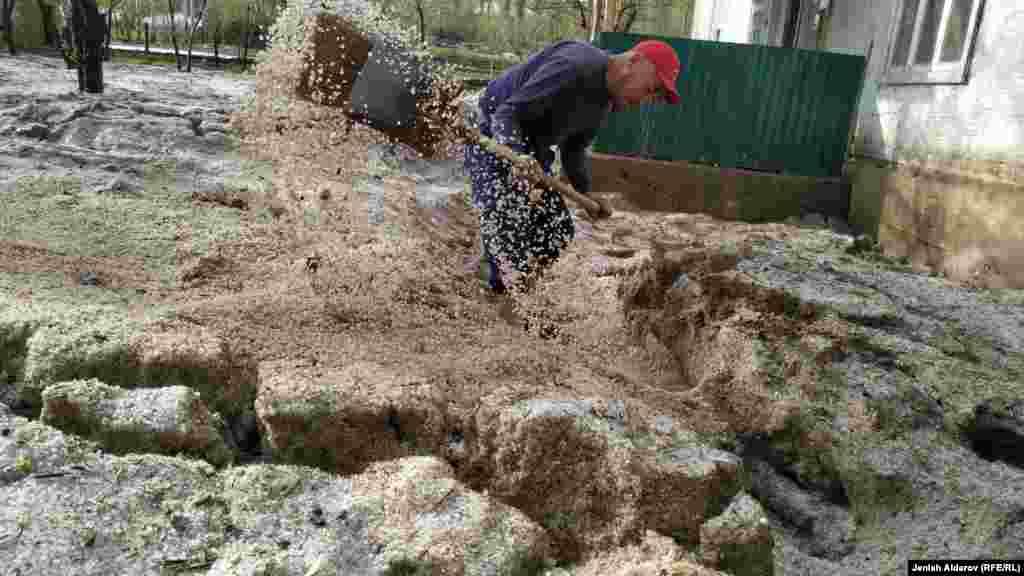 Суу ташкынынан кийин короосун тазалап жаткан тургун. Нөшөрлөгөн жаан учурунда калың мөндүр да жааган.