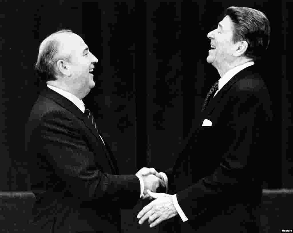 March 1985: Mikhail Gorbachev, here greeting U.S. President Ronald Reagan, becomes general secretary of the Communist Party of the Soviet Union. The new leader promises a more open and democratic Soviet future. Such statements have been heard before and few expect change, but this time it's for real.