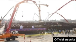 Iran began pouring concrete Sunday for a second nuclear reactor at its Bushehr power plant, November 10, 2019.