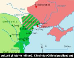 Teritoriul cedat Rusiei prin Pacea de la Iași (1791)