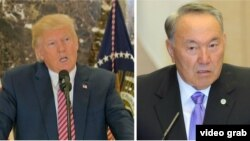 На составном фото – президент США Дональд Трамп (слева) и президент Казахстана Нурсултан Назарбаев.