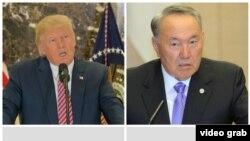 АҚШ президенті Дональд Трамп сол жақта, Қазақстан президенті Нұрсұлтан Назарбаев оң жақта. Көрнекі сурет.