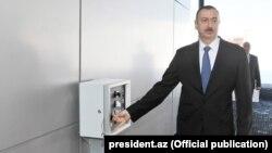 Azerbaijani President Ilham Aliyev at the opening of a ski area at Shahdag in January