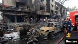 Իրաք - Բաղդադի ալ-Քարադե թաղամասը ինքնասպան ահաբեկչի իրականացրած պայթյունից հետո, 3-ը հուլիսի, 2016թ․
