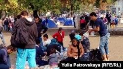Мигранты в Белграде (Сербия, сентябрь 2015 года)