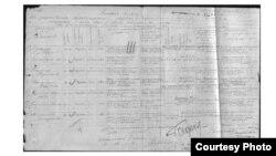 Кудайберген (Ормон) Кыдыралиевдин 1942-жылы согушка кеткендиги жөнүндө жазылган журнал.