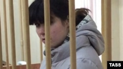 Varvara Karaulova is pictured during a court hearing in Moscow on October 28.