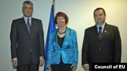Hashim Thaci, Catherine Ashton i Ivica Dačić