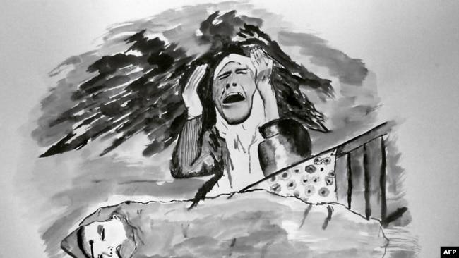 Рисунок 13-летнего чеченского мальчика осени 2000: мать плачет над телом убитого малыша